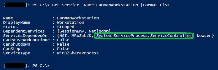 LanmanWorkstation service System.ServiceProcess.ServiceController