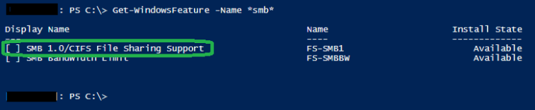 FS-SMB1 not installed