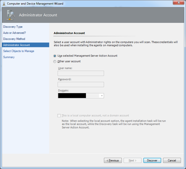 User account with Administrator right Management Server Action Account Discovery
