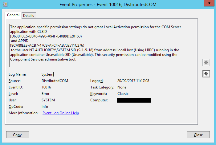 Microsoft-Windows-DistributedCOM Id 10016 application-specific permission settings Local Activation permission COM Server application CLSID APPID LocalHost (Using LRPC) security permission Component Services administrative tool