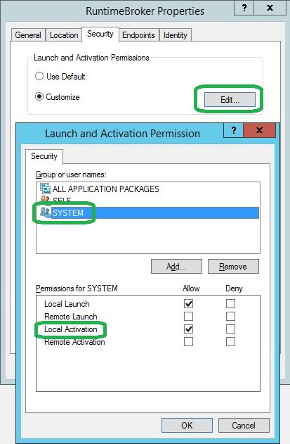 DCOM application permissions