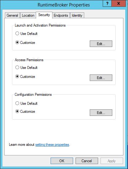 DCOM application properties
