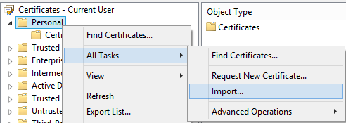 How to import a certificate into the Local USER's store