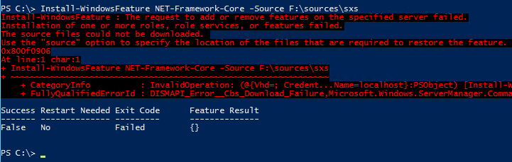 Install-WindowsFeature request to add or remove features on the specified server failed source files could not be downloaded Use the source option to specify the location of the files that are required to restore the feature 0x800f0906