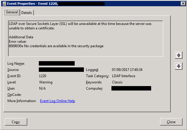 1220 LDAP over Secure Sockets Layer SSL will be unavailable at this time because the server was unable to obtain a certificate 8009030e No credentials are available in the security package
