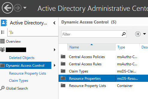 Active Directory Administration Center Dynamic Access Control Resource Properties