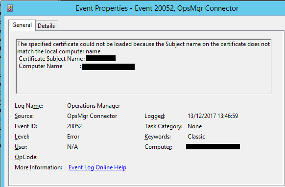 event ID 20052 The specified certificate could not be loaded because the Subject name on the certificate does not match the local computer name