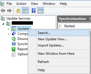 Search update in WSUS