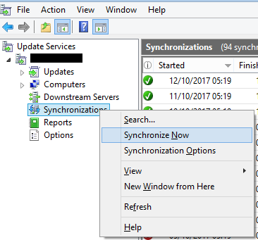 WSUS console synchronization results