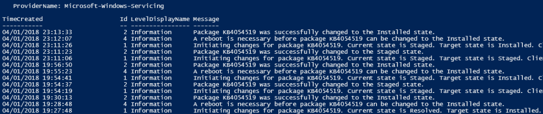 The package was successfully changed to the Installed state