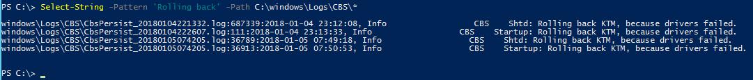 Windows Update rolling back