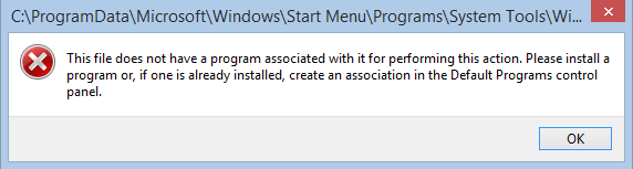 This file does not have a program associated with it for performing this action. Please install a program or, if one is already installed, create an association in the Default Programs control panel.