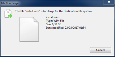 Solved] The file install wim is too large